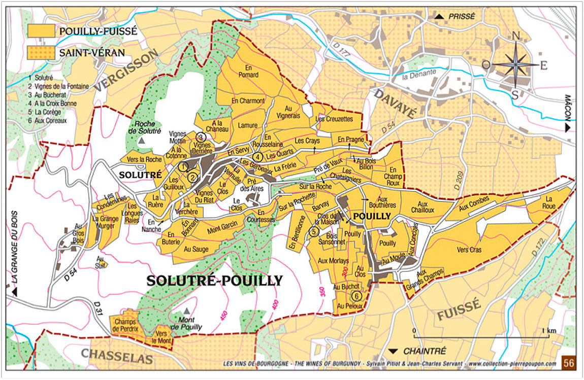 Carte des climats de Pouilly-Fuissé dans le village de Solutré-Pouilly